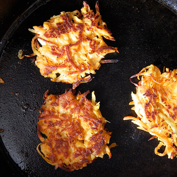 "Wholesome Sweet Potato Latkes- a healthier and more ""umami"" version of potato latkes! Try these crispy morsels."
