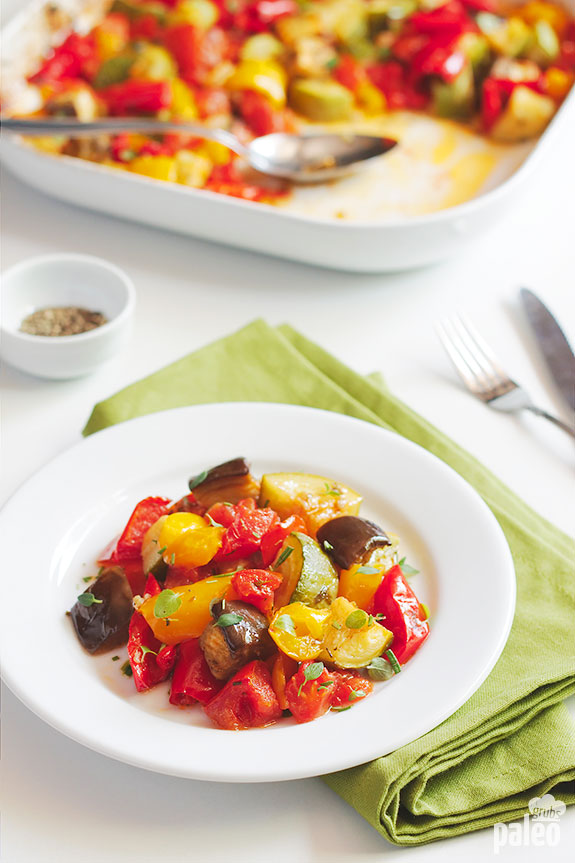 I love this oven baked ratatouille! It is delicious, super healthy and full of antioxidants, vitamins, minerals, and fiber.