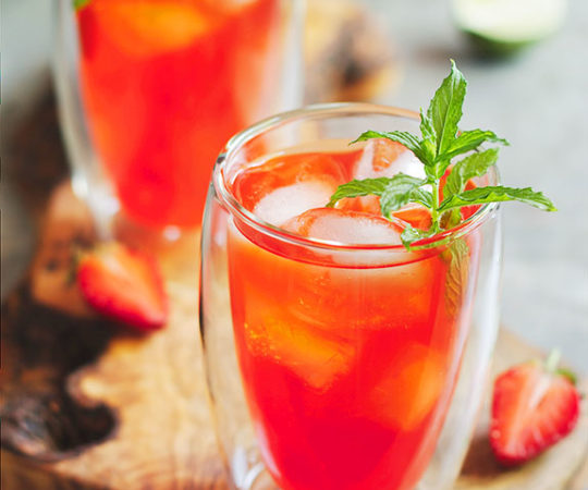 In this non-alcoholic strawberry mojito you're getting antioxidants from mint and strawberries, as well as Vitamin C from lime. Try it! It is so refreshing, wholesome and perfect for a hot day.