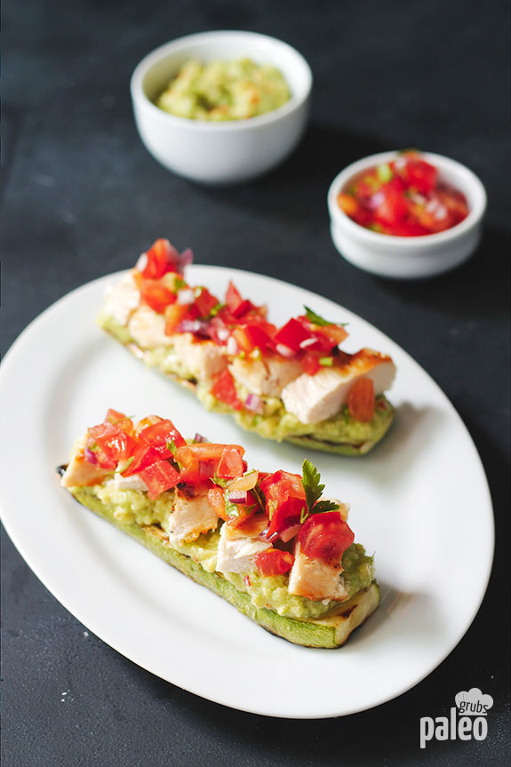 Try our low carb grilled chicken bruschetta and you'll have a new summertime favorite. It combines grilled chicken and zucchini with an avocado sauce and fresh salsa.