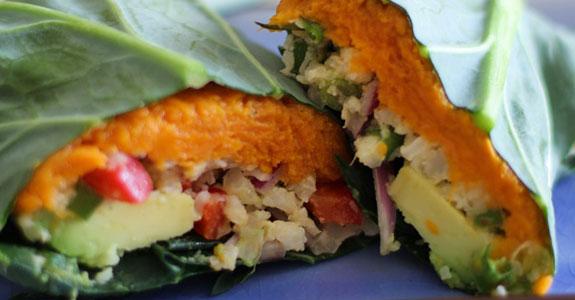 Roasted-Sweet-Potato-and-Cauliflower-Rice-Collard-Wraps