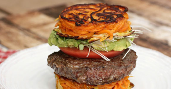 Burger-With-Guacamole-on-Sweet-Potato-Noodle-Bun
