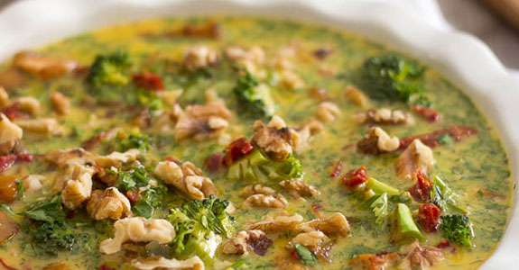 Chicken Broccoli Frittata With Turnips, Sundried Tomatoes, and Walnuts