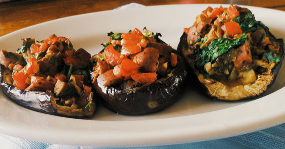 Easy Paleo Dinner Spicy Bruschetta Stuffed-Eggplant