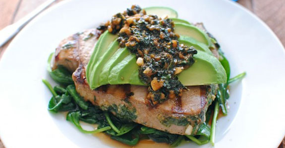 Grilled Citrus Tuna Steaks With Avocado and Spinach