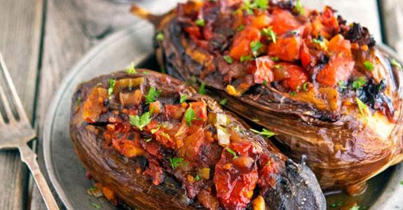 Imam Bayildi (Stuffed-Eggplant)