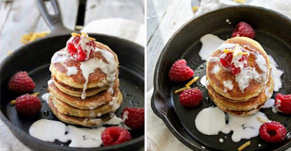 Lemon Raspberry Pancakes With Coconut Cream