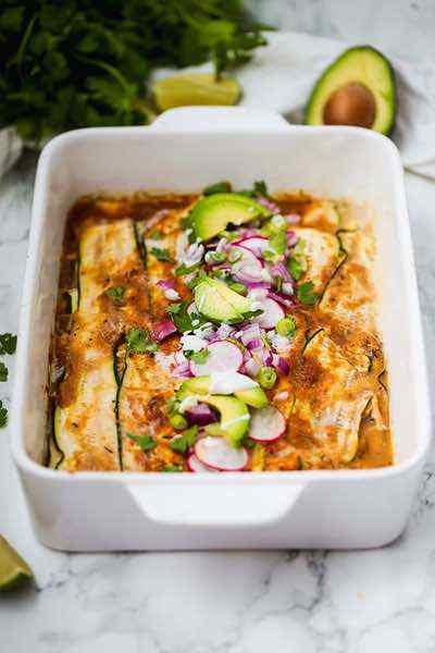 Low Carb Zucchini Chicken Enchilada Casserole