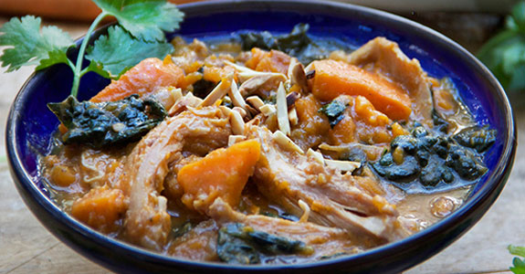 North-African-Stew-With-Sweet-Potatoes,-Apricots,-and-Kale