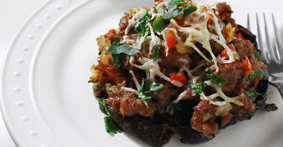 Portobello Mushrooms Stuffed With Italian Sausage