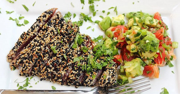 Seared Sesame Tuna Steak With Grapefruit Salsa