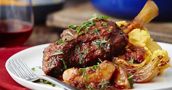 Turkish Paprika Lamb Shank With Quinces and Saffron Kumera Mash