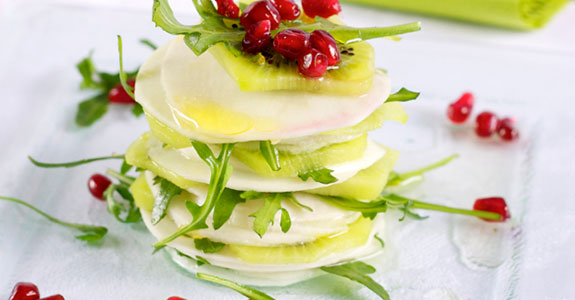 Turnip, Kiwi, and Pomegranate Salad With Honey and Vinegar