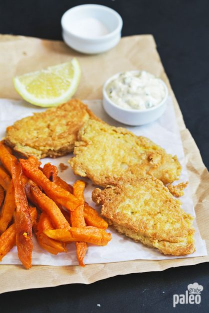 healthy fish and chips with sweet potato fries paleo grubs. Black Bedroom Furniture Sets. Home Design Ideas