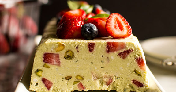Avocado Semifreddo With Strawberries and Basil