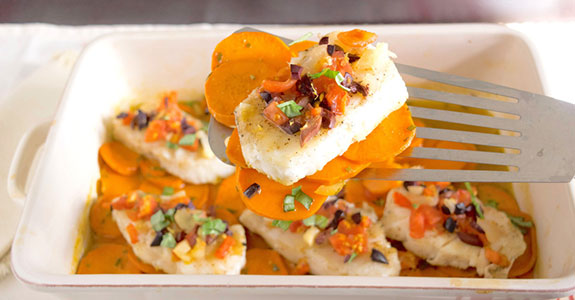 Baked Halibut With Sweet Potato