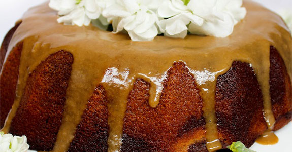 Chocolate Marbled Java Bundt Cake and Cashew Espresso Glaze