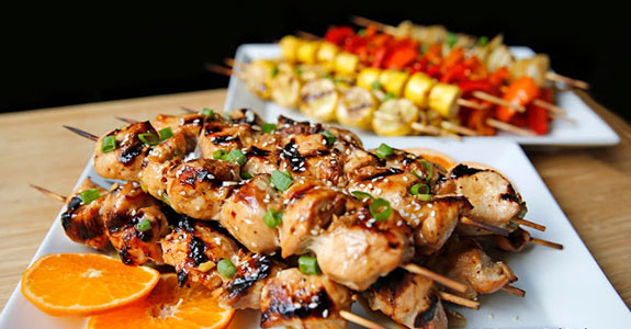 Grilled Asian Style Chicken Kebabs