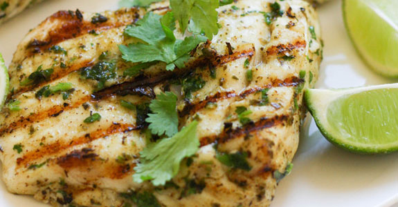 Grilled Halibut With Cilantro and Lime