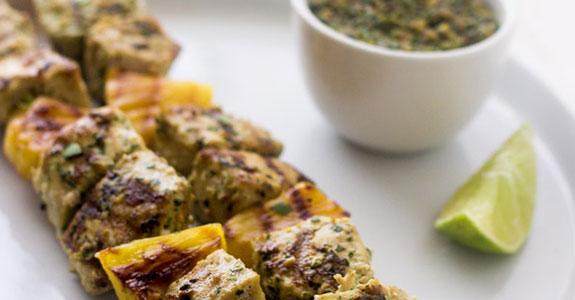 Macadamia Pesto With Grilled Mahi Mahi Kebabs