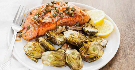 Pan-Seared-Salmon-With-Capers-and-Baby-Artichokes