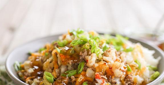 Pork, Shrimp, Shiitake, and Napa Cabbage Bowl