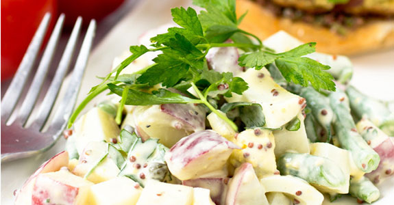 Potato Salad With Green Beans, Whole Grain Mustard, and Capers