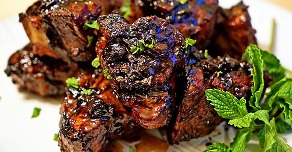 Roasted Garlic Balsamic Glazed Lamb Loin Chops