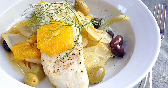 Roasted Halibut With Fennel, Oranges, and Olives
