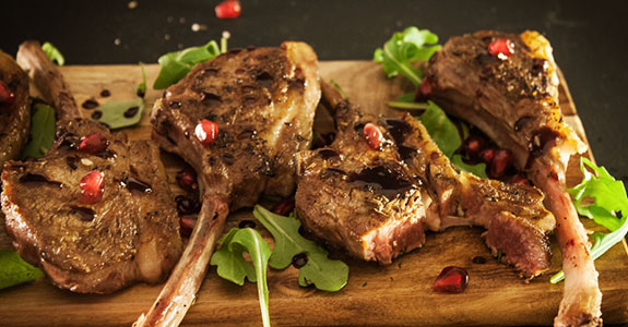 Seared Lamb Chops With Pomegranate Wine Reduction