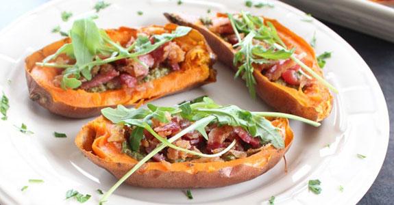Sweet-Potato-Skins-With-Sage-Pesto-and-Bacon