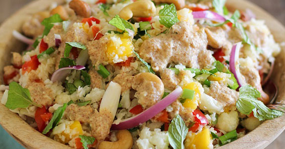 Thai-Cauliflower-Rice-With-Ginger-Almond-Dressing