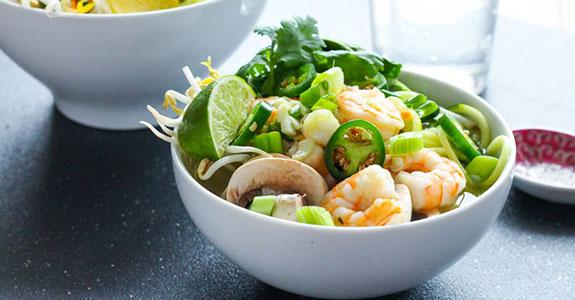 Zucchini Noodle Shrimp Pho