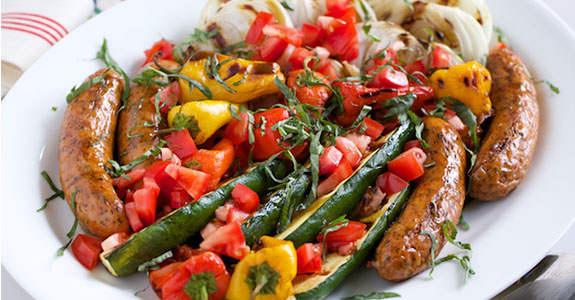 Grilled-Italian-Platter-With-Basil-Baslamic-Vinaigrette