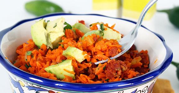 Jalapeno-and-Chorizo-Carrot-Rice-With-Avocado
