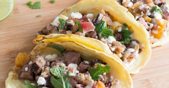 Mediterranean Tacos With Honey and Spice Tahini