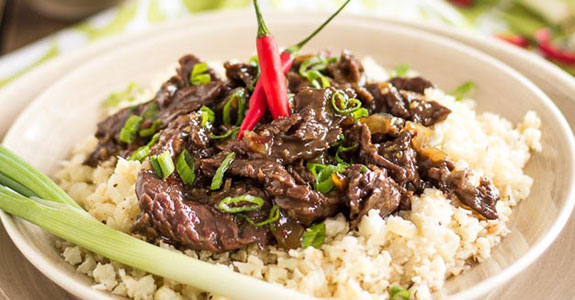 Mongolian Beef Over Cauli-Rice