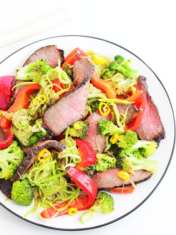 Give our low carb beef teriyaki with zucchini noodles a try and you'll be convinced that traditional recipes can be made in a healthy way!