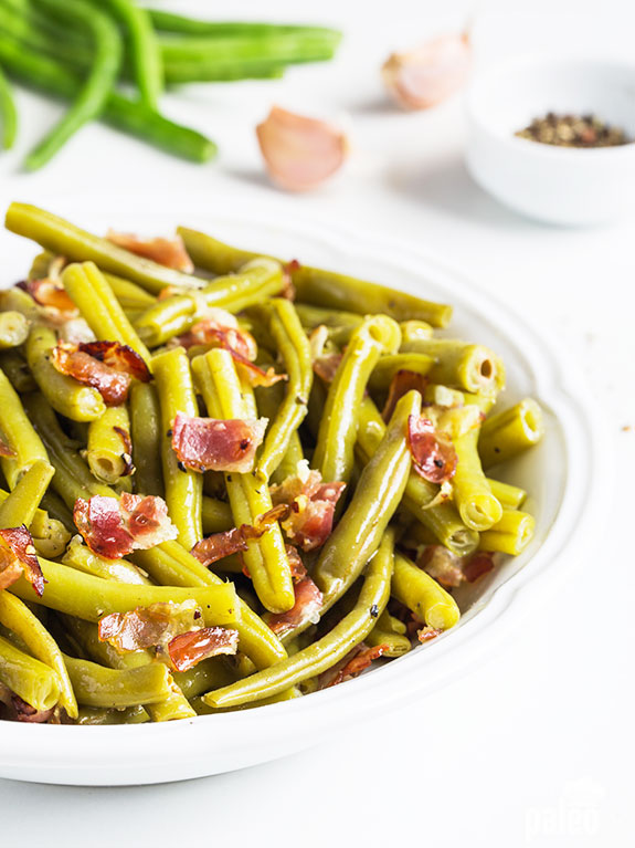 "What makes these southern green beans ""southern""? Bacon! And what makes these green beans super tasty? Bacon! Is there anything bacon can't do?!"