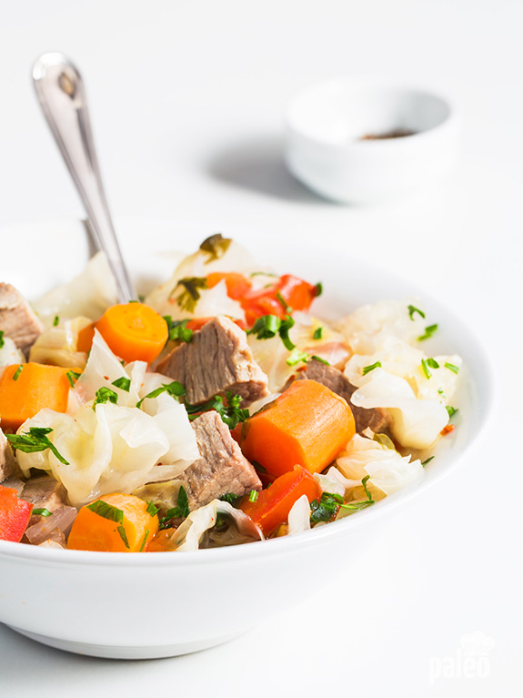 This Paleo Slow Cooker Beef and Cabbage Stew recipe practically screams fall. Warm, hearty, and yummy!