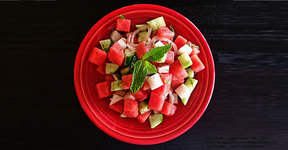 Cubed Watermelon Salad With Dill and Mint