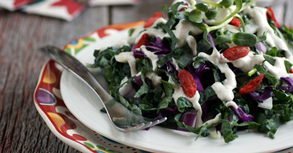 Kale Salad With Fennel and Radicchio in a Creamy Dressing