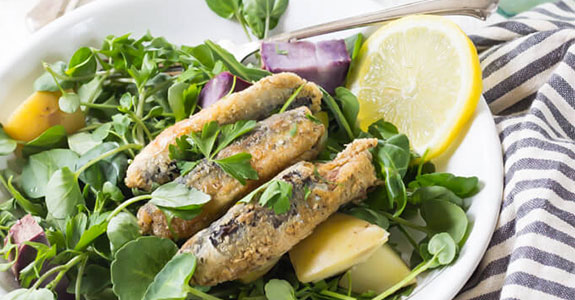 Pan Fried Sardine Superfood Salad