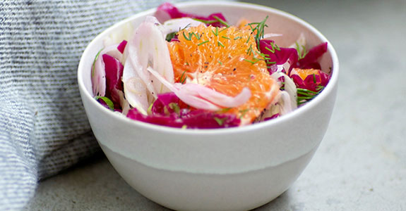 Shaved Fennel, Orange, and Sauerkraut Salad