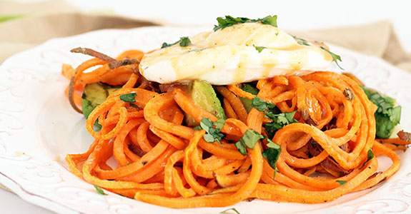 Spiralized Eggs Benedict With Roasted Sweet Potato Noodles