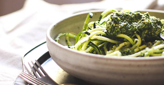 Springtime Zucchini Noodles With Garden Greens Pesto