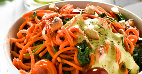 Sweet Potato Noodles With Sriracha Cilantro Cashew Cream Sauce