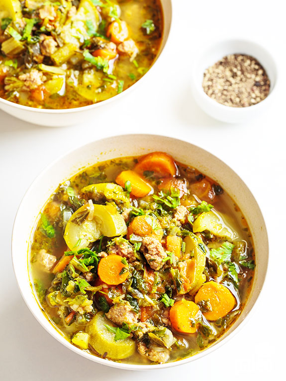 This Slow Cooker Italian chicken sausage soup is a twist on the traditional chicken soup. It adds super healthy veggies, like zucchini and spinach, and uses Italian chicken sausage instead of regular chicken to jack up the flavor profile. The best part: prep takes only minutes and your slow cooker will do the rest!