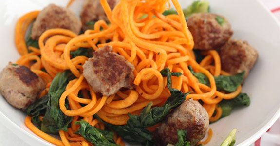 Garlic Escarole Sweet Potato Noodles With Sweet Italian Sausage