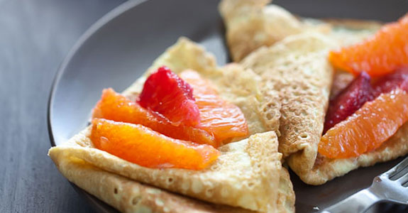 Grain Free Crepes With Honey Citrus Compote